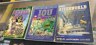 GURPS Lot Of 3 Softcover Books! Heavy Wear! IOU/ Riverworld/ Aztecs! Pics!