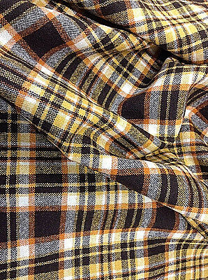 Vtg Plaid Wool Fabric Remnant 2 Yds Brown Orange Yellow 70s Colors