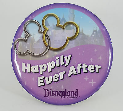 "Disneyland ""Happily Ever After"" Mickey and Minnie ears interlocked, button pin"