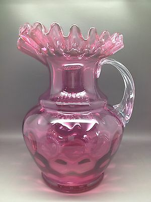 Large Vintage Cranberry Water Jug With Fluted Edge