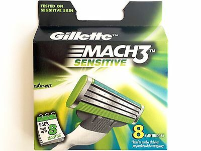 Gillette Mach 3 Sensitive Blades / Refill Cartridges 8 Genuine (NIB)
