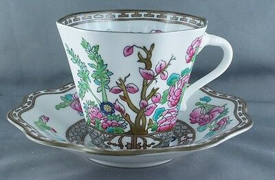Coalport India Tree Multicolor Flat Cup and Saucer (Four Available)