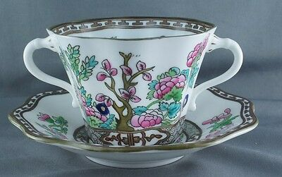 Coalport India Tree Multicolor Flat Bouillon Cup and Saucer 2 Handled (3 Avail)