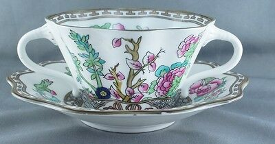 Coalport India Tree Multicolor Bouillon Cup and Saucer 2 Handled