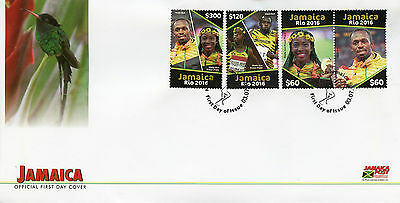 Jamaica 2016 FDC Rio 2016 Summer Games Olympics 4v Set Cover Usain Bolt Stamps