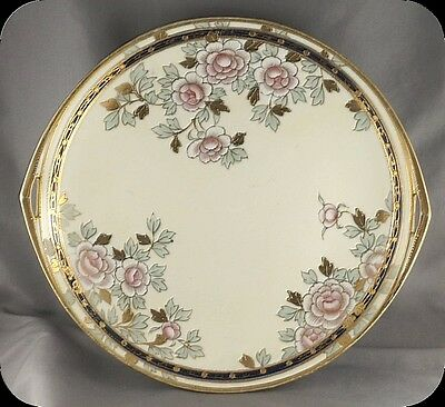 Vintage Nippon Wreath Mark Hand Painted Floral Handled Cake Plate Heavy Gold