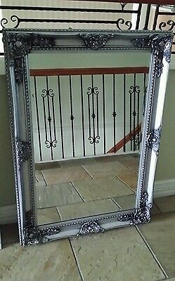 ANTIQUE LOOK FRENCH PROVINCIAL BEVELLED WALL MIRROR ORNATE SILVER  79 X110 new