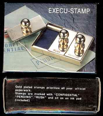 3 Gold Plated Stamps - Confidentiial, Pending & Rush