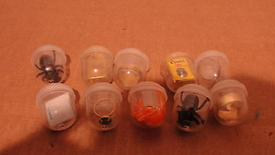 10 VENDING MACHINE TOY PRIZES - IN PLASTIC CONTAINER 80's ??