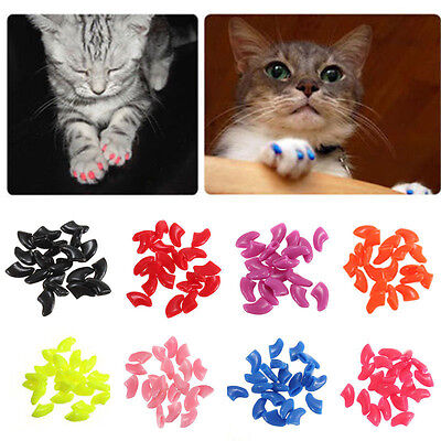 Colorful Soft Dog Cat Nail Caps Pet Claw Covers Silicone Scratch Grooming 20pcs