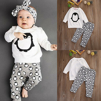 Toddler Kids Baby Boys Girls Clothes T-shirt Sweatshirt+Pants Outfits 2PCS Set