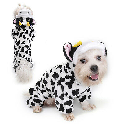 Cow Cosplay Small Cat Costume Pet Dog Jumpsuit Hoodie Warm Clothing  Pajamas
