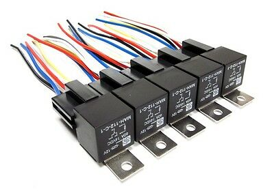 5pk 12V  SPDT 60 Amp Relays & Sockets Car Alarms Audio Installs Wire