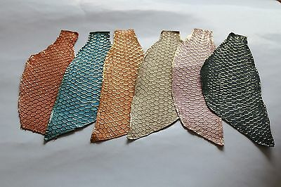 Authentic Tanned Asia Carp Fish Skin Hide Leather Craft Supply Gold Metallic