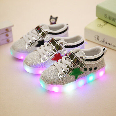 New Boys Girls LED Light up Luminous Sneakers Kids Casual Shoes