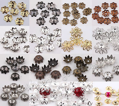 Lots 500pcs Silver Gold  Copper Plated Metal Flower Bead Caps 6mm Findings