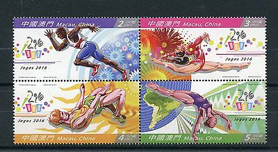 Macau Macao 2016 MNH Summer Olympics Rio 2016 4v Block Athletics Stamps
