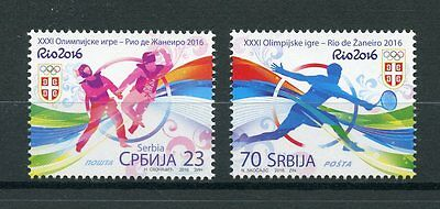 Serbia 2016 MNH Olympic Games Rio 2016 2v Set Olympics Tennis Sports Stamps