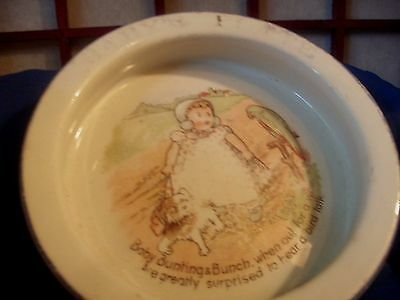 ANTIQUE BABY BUNTING ON A WALK WITH DOG CHILDRENS DISH or BOWL with VERSE
