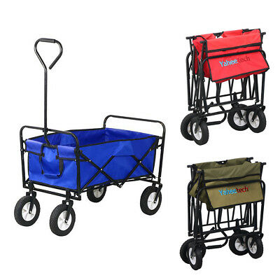 Red/Blue Collapsible Folding Wagon Cart Garden Buggy Shopping Toy Sports