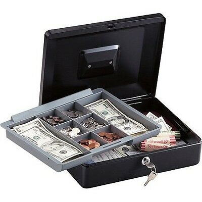 Metal Cash Money Box Locking Bank Steel Safe Key Lock Security Compartments Tray