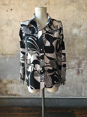 Vintage 1970's LANVIN Black & White Abstract Shirt SMALL Button Down Blouse Top