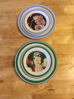 Set of 4 Coca Cola Plates By Gibson Green and Blue Trim