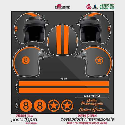 Kit ORANGE FLUO 8 Stella Strisce STICKER CASCO ADESIVO DECAL MOTO SCOOTER HELMET