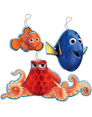 3 x Finding Dory Nemo Birthday Party Hanging Honeycomb Decorations