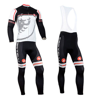 New Men Road Bike Team Cycling Long Sleeve Jersey Bib Pants Kits Bicycle Outfits