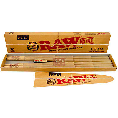 Raw Classic Pre-Rolled LEAN Cones Kingsize - 20 Cones Per Box 1/2 & 4 Packs