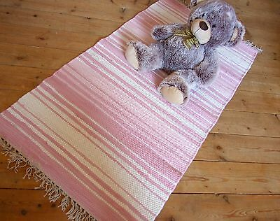 100% Cotton Swedish Rag Rug in Pink and White stripes 60 x 110 cm