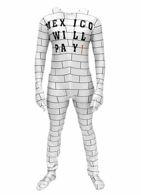 Funny Donald Trump Build A Wall Mexico Will Pay Zip Up Costume Jumpsuit