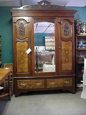 """Wardrobe Antique Hand Carved Burled  Beveled Mirror,2 Drawer 90"""" Tall"""
