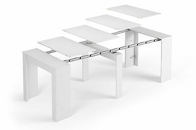 Dining Table, Console (Multifunction 5 in 1) Extends 90x 50-237cm (Shine White)