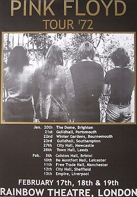 """TOUR POSTER~Pink Floyd 1972/72 22x31"""" David Gilmour Roger Waters London England~"""