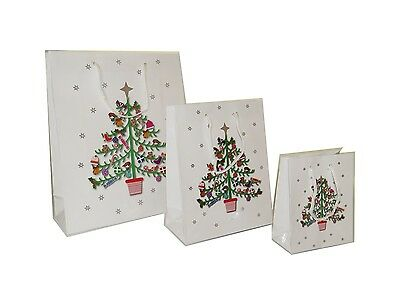 **new** White Christmas Tree Gift Bags Small Medium Large Wholesale- 12 Pack