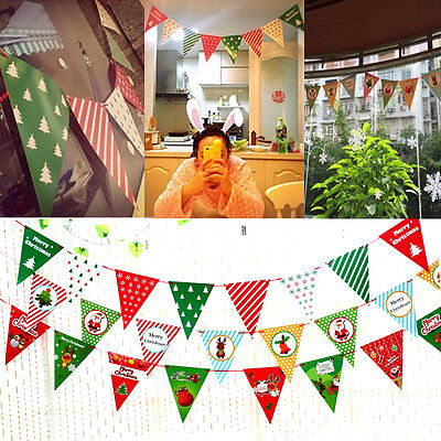 Xmas Christmas Pennant Hanging Flag Banner Bunting Garland Party Home Decoration