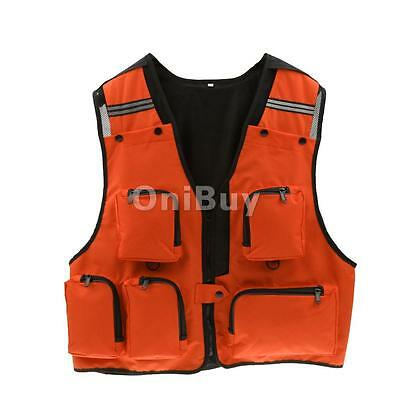 Pêche orange Multi-Pocket Vest Photographie Gilet de chasse Veste de sport