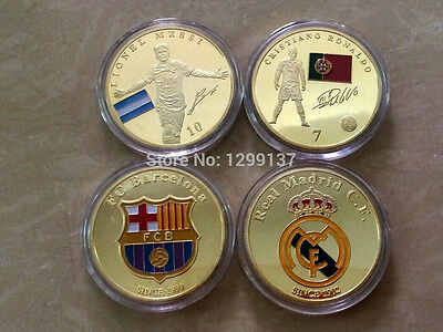 2 x Ounce .999 Gold Plated Coins Messi & Ronaldo Barcelona  Real Madrid Crest UK