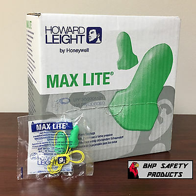 Howard Leight Max Lite Disposable Ear Plugs Lpf-30 Corded Green (100 Pair Box)