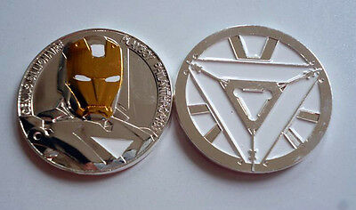 1 Pc Gold & Silver Plated Ironman Coin Tony Stark The Avengers Souvenir Medal