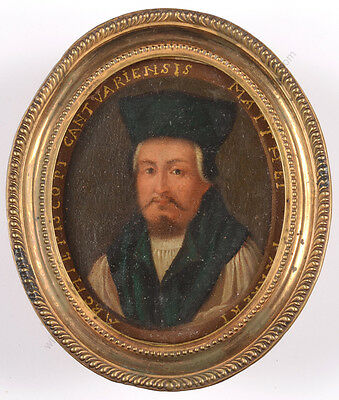"""Portrait of Matthew Parker, Archbishop of Canterbury"", oil on copper miniature"
