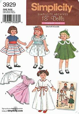 Simplicity 3929 OOP 18 inch Girl Doll Clothes Pattern Vintage American Coat NEW