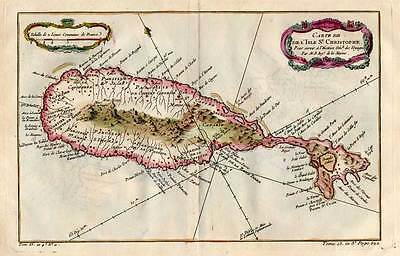Saint Christopher-St. Kitts-Karibik Kupferkarte-Karte-Map Bellin 1758