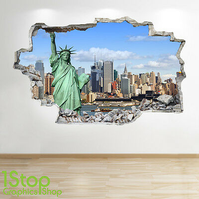 New York Wall Sticker 3D Look - Bedroom Lounge Statue Of Liberty City Decal Z11