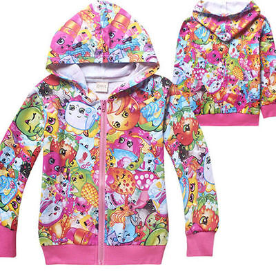 New Kids 100% Cotton Hoodies Shopkins Zip Coat Spring Fall Casual Clothing