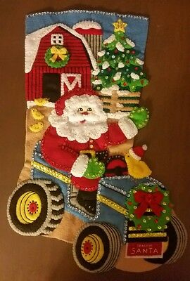 """Finished Bucilla """" Christmas on the Farm 18"""" Christmas Stocking - Handstitched"""
