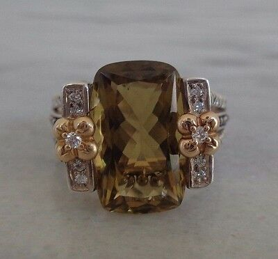 Size 9 Cushion Cut Citrine Diamond 18K Yellow Gold & Sterling Silver Ring
