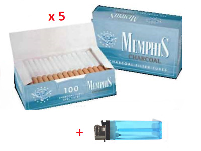 500 Memphis Charcoal Empty Tobacco Cigarette filter tubes